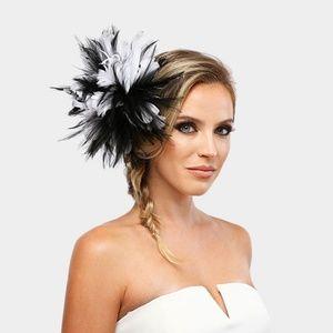 Black & White Feather Fascinator Dressy Church Hat
